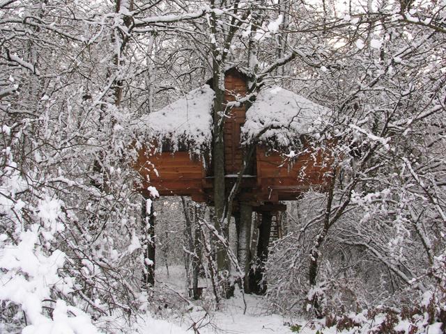 Cabane sous la neige
